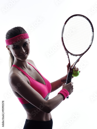 woman tennis player portrait silhouette