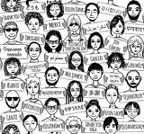 Fototapety Hand gezeichnete Leute mit Danke-Schildern in verschiedenen Sprachen (seamless pattern / Hintergrundmuster in schwarzweiß)