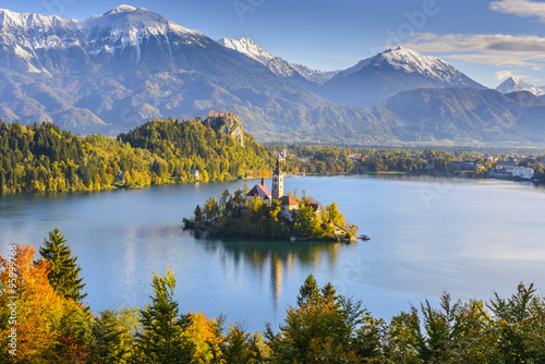 Fototapety, obrazy : Panoramic view of Lake Bled from Mt. Osojnica, Slovenia