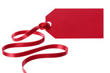 Red price tag or label with ribbon isolated on white background