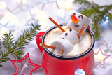 Fototapety Hot chocolate with melted snowman