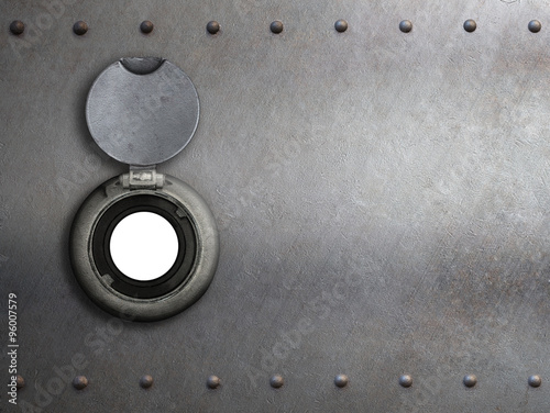 Poster peephole on metal armored door