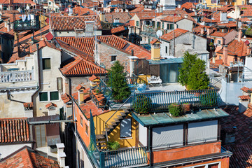Aerial rooftop views of Venice, Italy