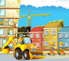 Cartoon scene with construction workers - excavator - illustration for the children