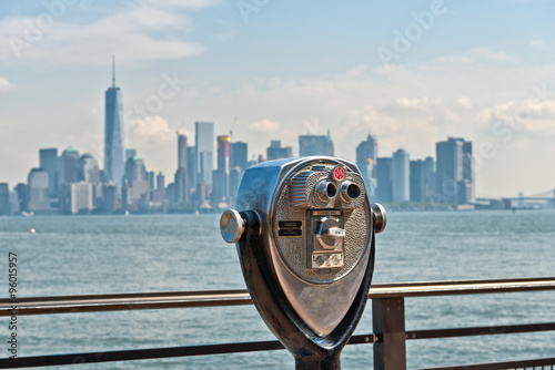 Scenic Binoculars and View of New York City Poster