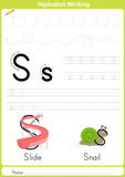 Fototapety Alphabet A-Z Tracing Worksheet,  Exercises for kids -  illustration and vector outline - A4 paper ready to print