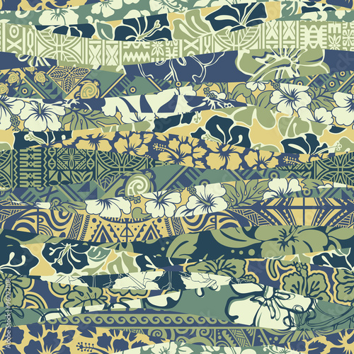 Cotton fabric Hawaiian patchwork wallpaper vector seamless pattern