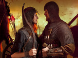 A girl and a guy dressed in a medieval knight costume. Couple in love