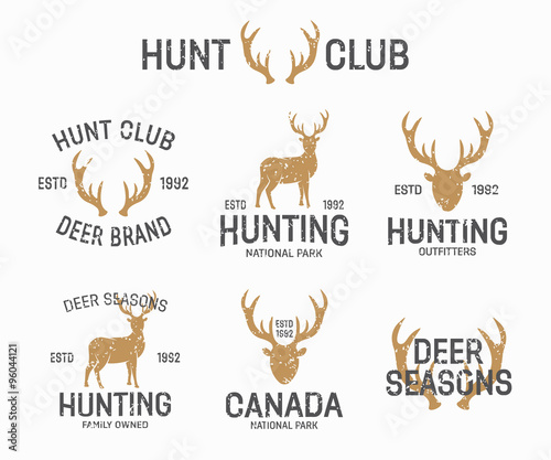 Aluminium Hipster Hert Set of vintage hunting and deer logo and label design elements