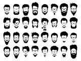 Fototapety Vector set of hipster style haircut, glasses, beard, mustache