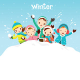 Children Playing Snow Together, Activity, Travel, Winter, Season, Vacation, holiday, Nature, Object - 96077191
