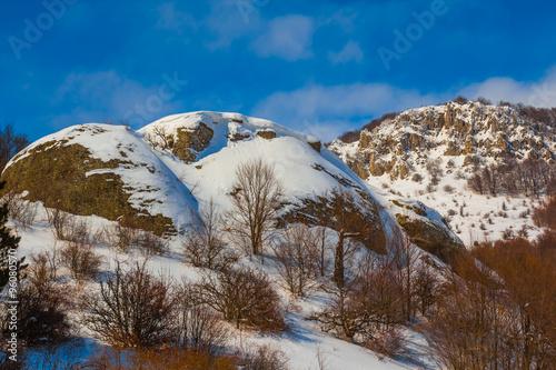 Foto op Canvas winter snowbound mountain scene