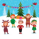 Children celebrate Christmas and New Year/Cartoon vector illustration of a group of children celebrate Christmas and New Year