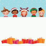 Group of children in costumes and Christmas gifts/Stock vector illustration of Christmas Card Children in holiday costumes and gifts