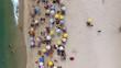 Quadro Aerial View of Crowd of People Copacabana Beach, Rio de Janeiro, Brazil