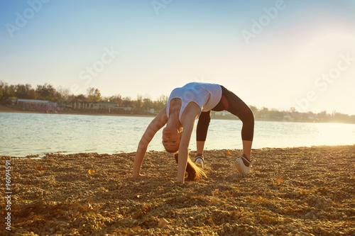 Vászonkép exercise by the lake