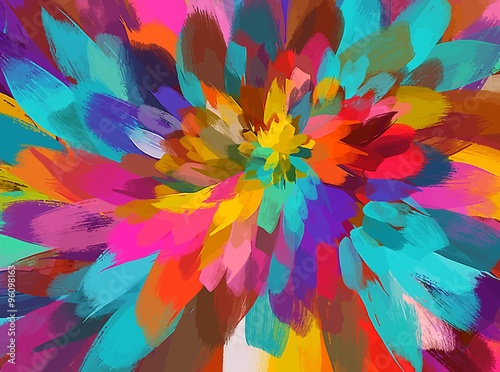 Colorful flower brush strokes background. Vector version - 96098163