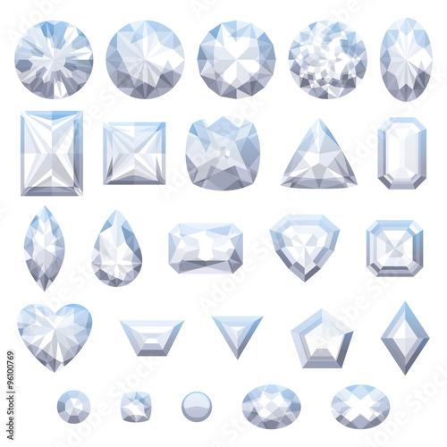 Zestaw realistycznych białych klejnotów. Diamenty na białym tle.