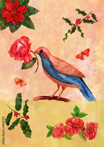 Fototapeta Vintage artistic postcard with watercolor drawings of bird with flowers and butterflies