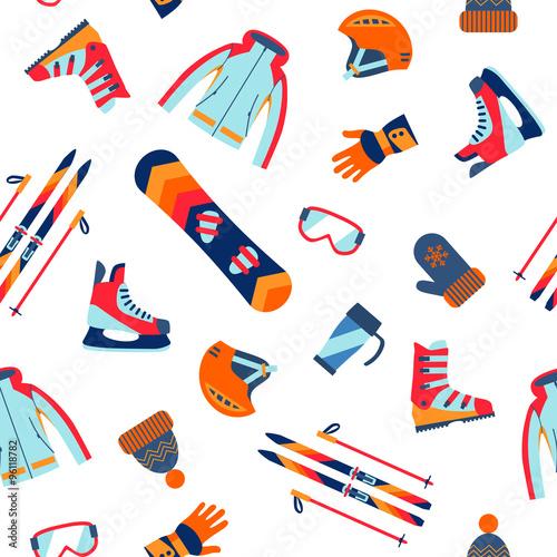 Cotton fabric Seamless pattern of winter sport