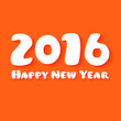 Detaily fotografie Happy New Year Paper text design on orange background.