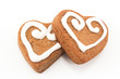 Obrazy na płótnie, fototapety, zdjęcia, fotoobrazy drukowane : Gingerbread cookies hearts isolated on white