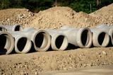 sewage pipes in construction site - 96134354