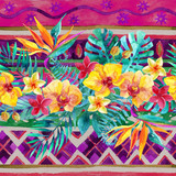 Tropical leaves and flowers on ornamental background. Floral design background.