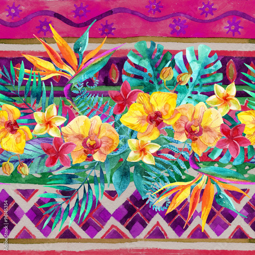 Tropical leaves and flowers on ornamental background. Floral design background. - 96145354
