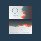 Elegant business card template with colorful background and overlay waves. User interface icons for contact information