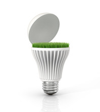 Green energy. Open LED light bulb with green grass inside on the