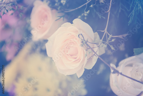 Vintage rose flower bouquet soft background - 96172550