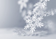 Постер, плакат: Soft Falling Snowflakes Paper craft snowflakes close up illustration of falling snowflakes Christmas winter background