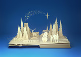 Fototapety Pop-Up Book - Christmas Story. Styled 3D pop-up book with a chrsitmas theme including a family building a snowman, winter forest and stars. Illustration