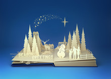 Pop-Up Book - Christmas Story. Styled 3D pop-up book with a chrsitmas theme including a family building a snowman, winter forest and stars. Illustration