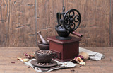 Vintage coffee grinder Cup saucer mortar pestle spoon coffee bea