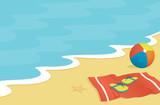 Beach scene with towel, flip-flops, and beach ball