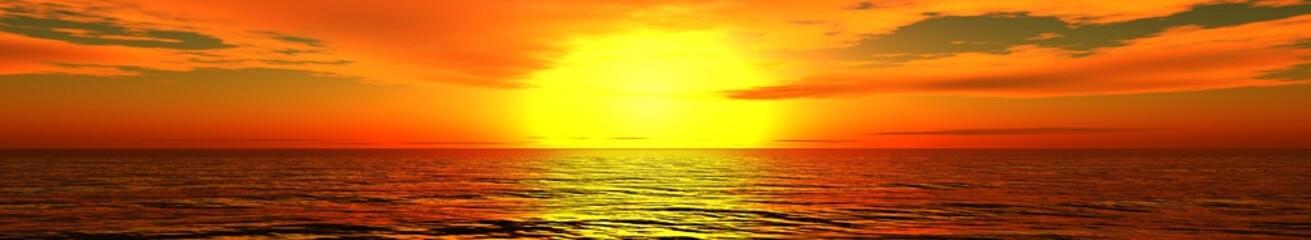 Marine sunset, sunrise. Banner.