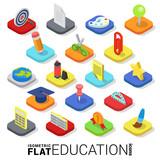 Fototapety Flat 3d isometric vector education web mobile app icon