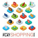Fototapety Shopping online store flat vector 3d isometric mobile app icon