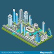 Flat 3d isometric vector megalopolis city skyscrapers office