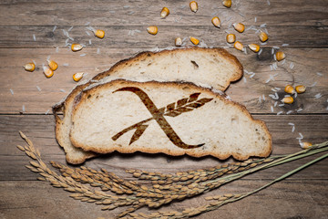 Gluten free logo grilled on bread