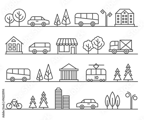 Line city illustration. Vector urban landscape