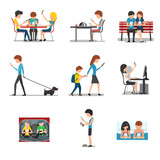 People in different action use smartphone. Vector mobile device, social media and internet addiction concept flat style