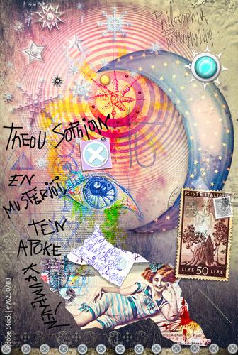 Graffiti Esoteric avec lune étoilé, des bouts et des timbres Poster