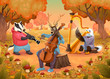 Musician animals in the wood