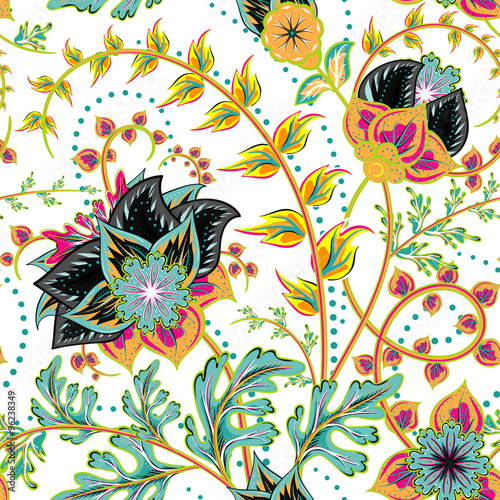 Seamless pattern. Vintage decorative elements. Hand drawn background. Arabic, Indian, ottoman motifs. For fabric or paper - 96238349