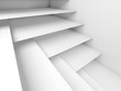 Abstract white room interior with empty shelves
