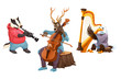 Musician cartoon animals
