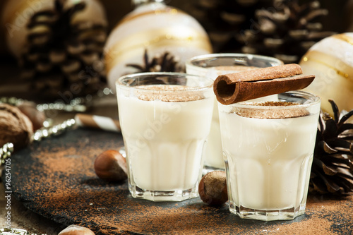 Foto: Eggnog with milk, cinnamon, grated nutmeg, decorated with fir co